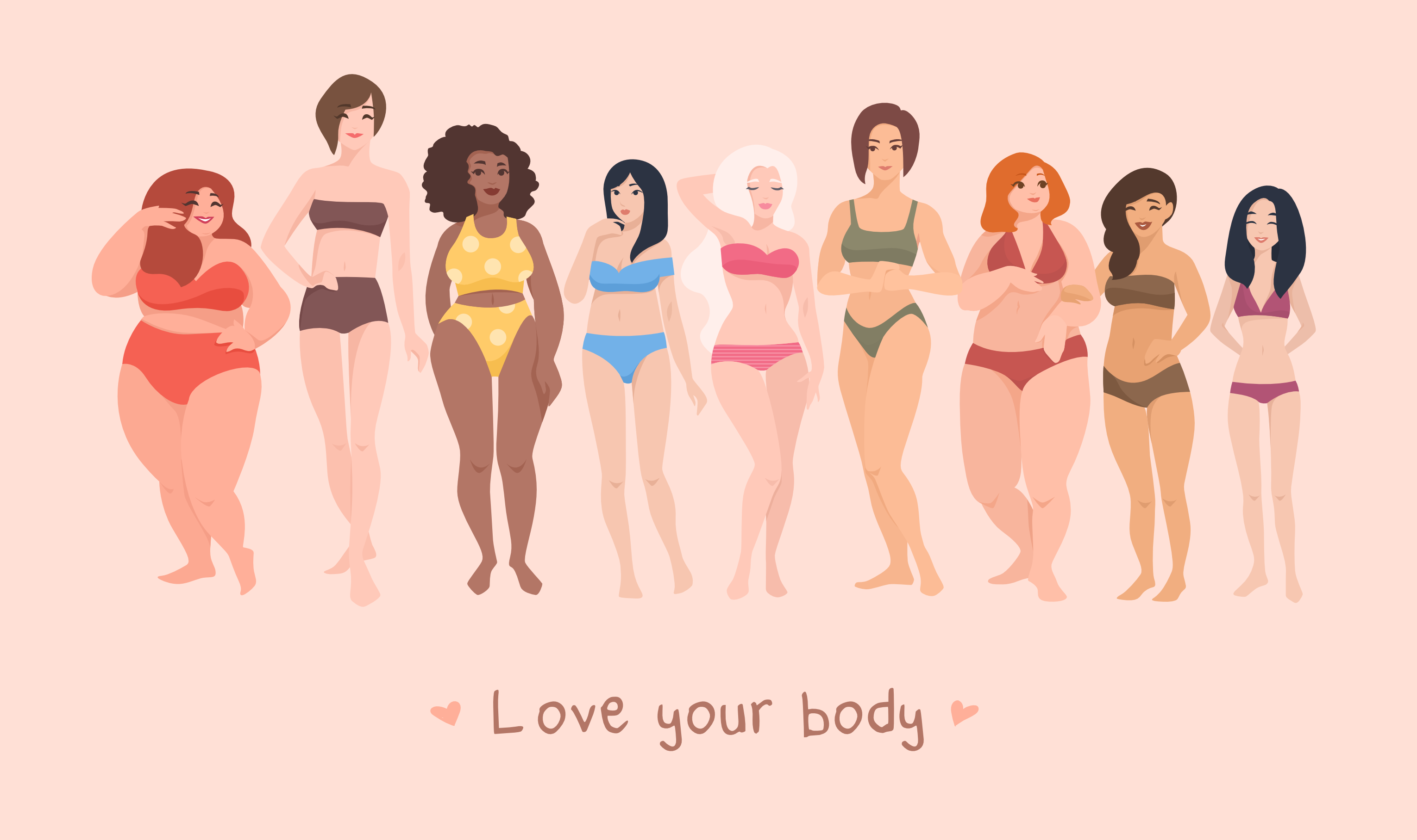 Ladies all colours, sizes, body shapes with the message Love Your Body